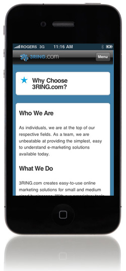 3RING.com mobile page